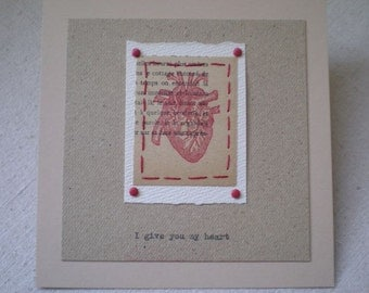 Valentine Card - Love Card - Unconventional Love Card...I Give You My Heart - Handstitched Card  - French Language - Red Heart - OOAK Card