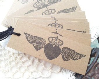French Inspired Winged Heart with Crown Kraft Tags Set of 15