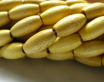 Wooden Creamy Bright Yellow Finish Oval Tube Rice Beads 10mm by 5mm 8 inches (20cm)