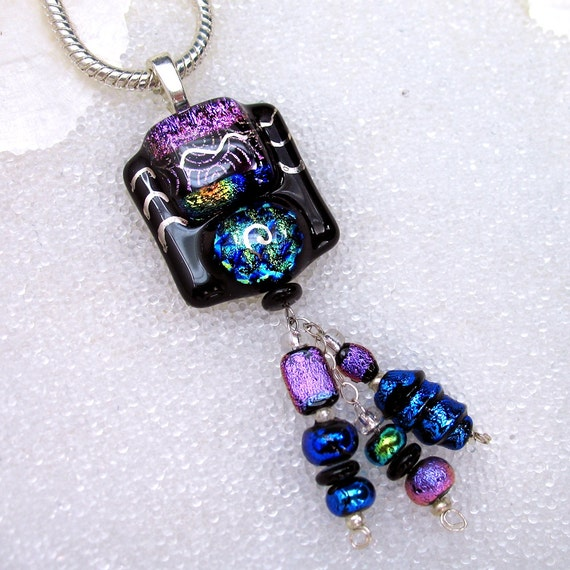 Dichroic Fused Glass Statement Pendant with Triple Drops in Lucious Jewel Tones