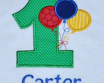 Birthday Boy Outfit - Monogrammed/Personalized First Birthday Balloons Appliqued Body Suit or T-shirt, Sizes 12, 18, or 24 month