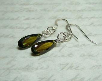 Olive Green Faceted Cubic Zirconia Teardrops, Elegant Dangle Earrings, Sterling Silver