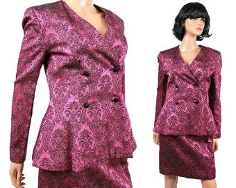 SALE! Vintage Skirt Suit XS - 50s 60s Dark Pink Black Tapestry Brocade Peplum Blazer Jacket Outfit Set Free US Shipping