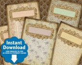 Shabby Florals / Wallpaper / Pastel - Printables Gift Tags / Jewelry Tags Instant Download and Print Digital Sheet
