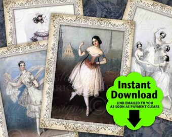 Dance Ornate / Ballerina Ballet Dancing - Printable Instant Download ATC, ACEO Tags, Download and Print Digital Sheet