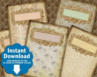 Shabby Florals - Printable Hang Tags / Gift Tags / Price Tags / Jewelry Cards  - 2x3 Inch Tags Instant Download and Print Collage Sheet