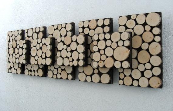 Rustic Wall Art, Modern Art, Wood Sculpture, Tree Branch Art, Wood Slice Art