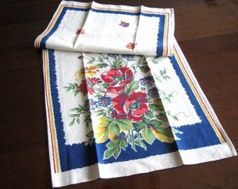 TOWEL RETRO Vintage Kitchen Bath Bar Cloth Sharp Print Cotton Sailcloth Blue Framed Red Roses