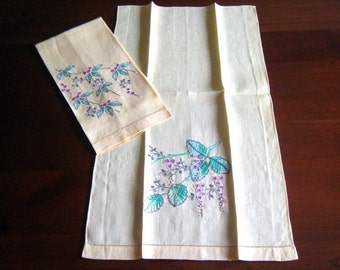 TOWEL Vintage Kitchen Striped French Sturdy Hand Glass Bar Cloth Embroidered SOCIETY SILK Flowers Linen