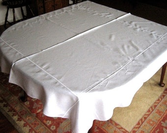 Linen Tablecloth Pure White Solid Linen White embossed framework Quality Linen