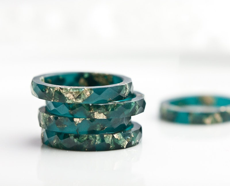 Teal Resin Stacking Ring Gold Flakes Thin Faceted Ring Ooak