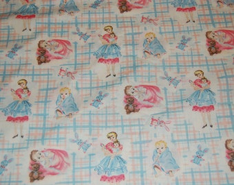 OOP Out of Print Baum Textiles Vintage Retro Baby Mommy Bunny Bear Toy Fabric 1 yard Nursery Juvenile