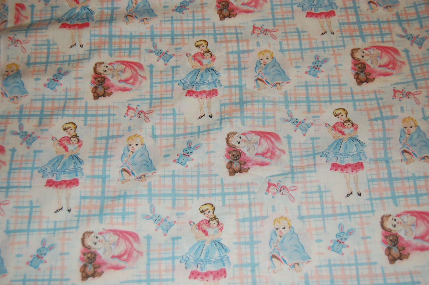 Oop out of print baum textiles vintage retro baby mommy bunny for Retro baby fabric
