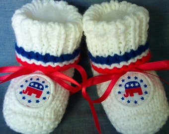 Republican Baby  Booties   Patriotic 4th of July- Election day -Democrat donkey booties also available Ready To Ship