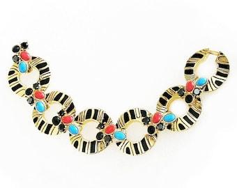 Egyptian Revival Cabochon, Rhinestone and Enamel Bracelet