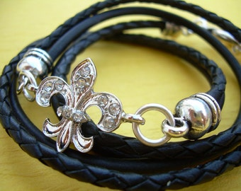 Leather Bracelet, Antique Silver/ Double Strand Black, Crystal Fleur -de- lis, Triple Wrap, Womens jewelry, Womens Bracelet