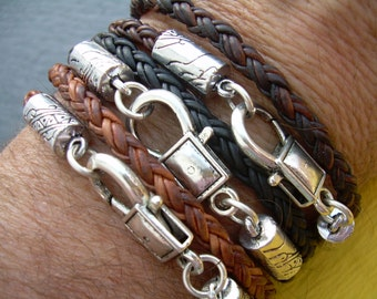 Braided Leather Bracelet,  Mens, Womens,  Unisex ,  Double Wrap, Lobster Clasp, Mens Jewelry, Womens Jewelry, Mens Bracelet, Womens Bracelet