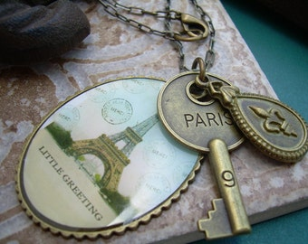 Womens Necklace, Chain, Antique Bronze Toned With Paris Pendants, Womens Jewelry