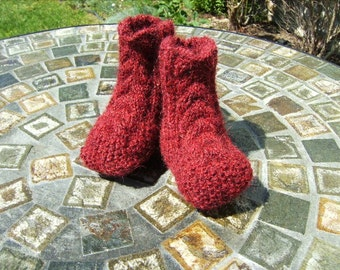 Alpaca Wool Baby Socks Booties Hand Knit Maroon Brown Red with Irish Aran Cables (Size NB 0 - 3 Months - Made to Order)