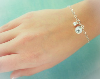 Sterling Silver Personalized Birthstone and Initial Bracelet Bridesmaid