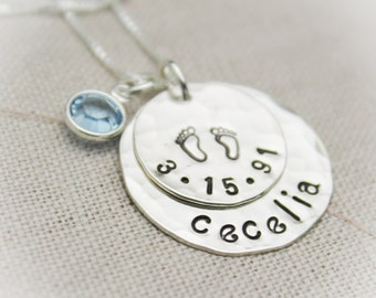 Personalized New Mommy Sterling Silver Necklace with Birthdate and Birthstones Hand Stamped Jewelry