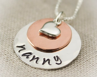 Personalized Sterling Silver and Copper Layered Necklace with Heart Charm Hand Stamped Jewelry