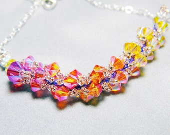 "Phoenix Swarovski Crystal Necklace Light Topaz Sunflower Indian Pink Sterling Silver -  ""Oiseaux de Feu"""