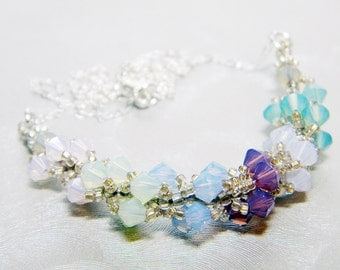 """Opal Swarovski Crystal Champagne Seed Bead Beadweaving Sterling Silver -  """"Sand and Seaglass"""""""