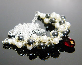 "Night Circus Inspired Crystal Necklace Beadweaving Sterling Silver -  ""Le Cirque des Rêves"""