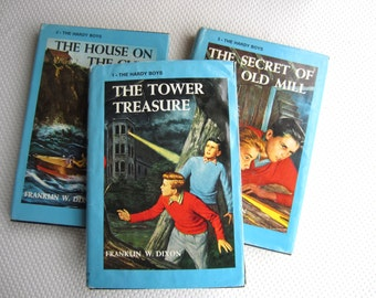 Vintage Hardy Boys First Three Books Set Tower Treasure House on the Cliff Secret of the Old Mill