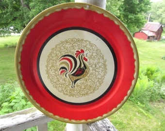 Vintage Mid Century Rooster Round Metal Tray Red Gold Black