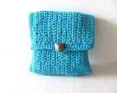 Turquoise Clutch---Cotton-Vintage button- right size to carry your most important things,stylish.