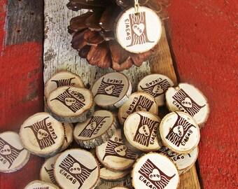 Custom Wedding Favor Tree Stump  Wood Gift Tags  50 Tags