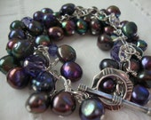 FREE SHIPPING Sterling Silver Clustered Blue Purple Pearl Bracelet