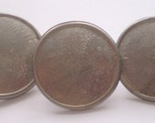 Set of 10 Large Domed Pewter Buttons with outer ridge