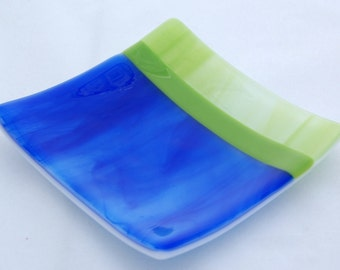 Blue and green fused glass dish