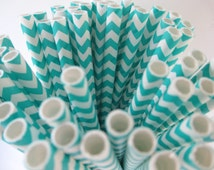 25 Aqua Chevron Paper Straws Made in the USA Aardvark Teal