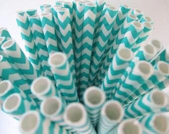 250 Aqua Chevron Paper Straws Made in the USA Aardvark Teal
