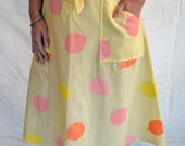 Vintage 1970's Key West Fashion Hand Printed Yellow and Pink Wrap Skirt
