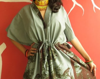 The tree of life - Gray short Kaftan Dress - Best gift for her, dressing gown, lounge wear, beach cover up, vintage fashion