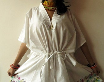 Little sparrows White short Kaftan Dress - Best gift for her, dressing gown, lounge wear, beach cover up, vintage fashion