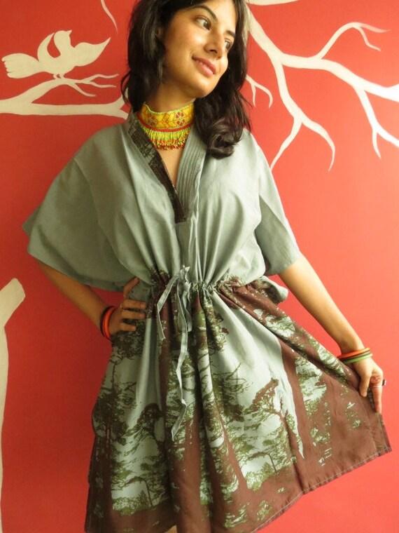 The tree of life Gray short Kaftan Dress Best gift for