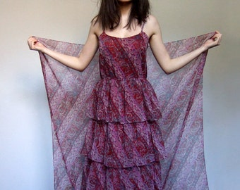 Paisley Dress Sheer Tiered Ruffle Dress Womens Vintage 70s Scarf Print Crimson Day Dress - Medium M