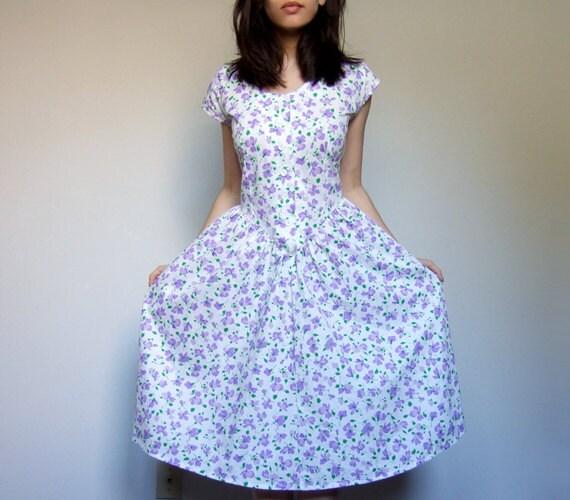 Floral Print Dress Spring Fashion Purple White Dress Button Up Summer Casual Dress Pockets Polka Dot - Medium. Large. M/ L