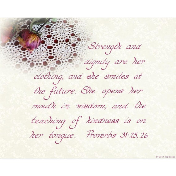 Proverbs 31 25: Items Similar To PROVERBS 31:25-26 --- 8 X 10 Hand Written