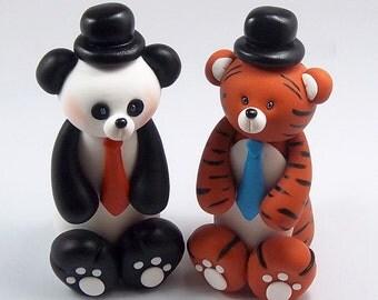 Same Sex Cake Topper, Panda Bear, Tiger, Wedding Cake Topper