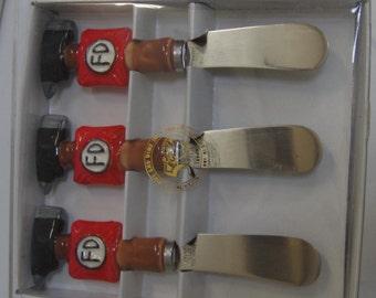 A Set of 3 FIREMAN Butter, Cheese or Jam Spreader