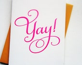Letterpress Congratulations card - Yay!