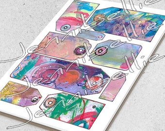 Artful Tags Digital Collage Sheet