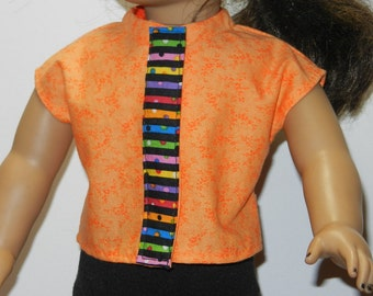 BK Orange Calico Blouse with Multicolor Strip - 18 Inch Doll Clothes fits American Girl Dolls